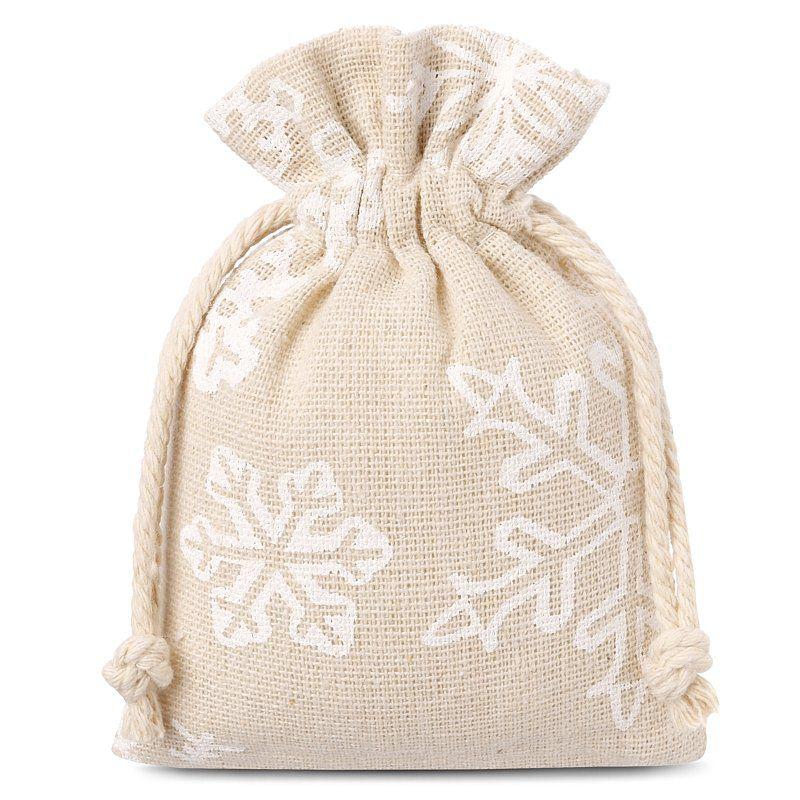 10 pièces Sacs de lin avec l'impression 10 x 13 cm - naturelle / neige